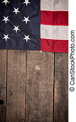 American flag on old barn wood