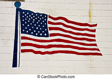 American Flag on Old Brick Wall