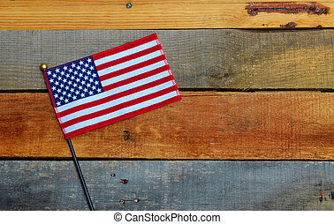 American Flag on pallet wood