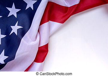 American flag on plain back ground with space for text