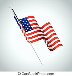 American Flag on Pole Waving Illustration