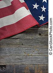 American flag on rustic wood