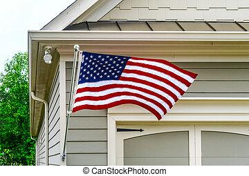 American Flag on Siding House