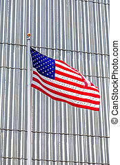 American Flag on Silver Wall