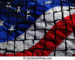 American Flag on Stones