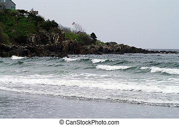 American Flag on the coast