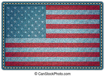 American flag on the jeans texture. Vector eps10