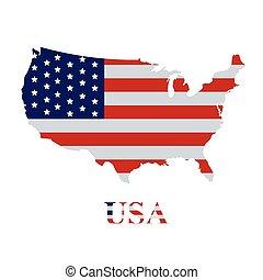 American flag on the USA map
