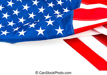 American flag on white background .
