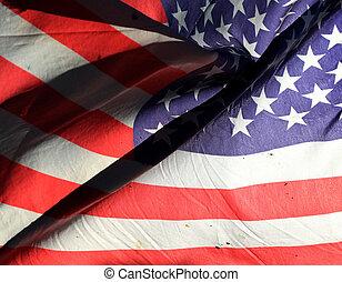 American flag on wind