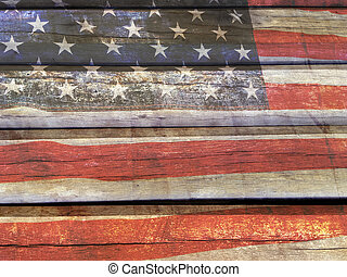 American flag on wood