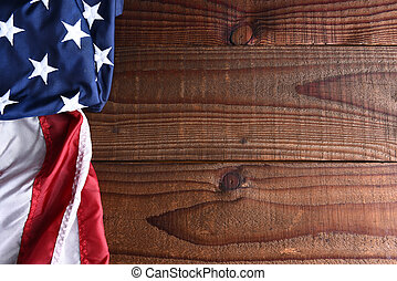 American Flag on Wood - Closeup of an American flag on a...