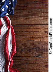 American Flag on Wood Vertical - Closeup of an American flag...
