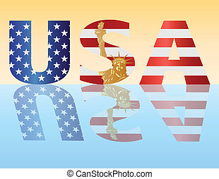 American Flag Outlined in USA Alphabet Illustration