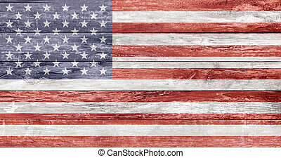 american flag painted on wooden texture - independence day...