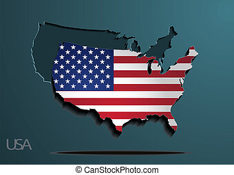 American flag paper map