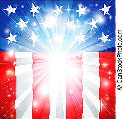 American flag patriotic background with stars and stripes and space for text in the center