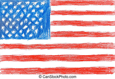 American flag, pencil drawing illustration kid style