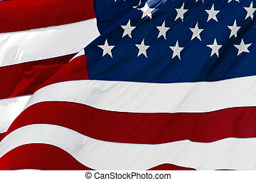 American Flag - An American flag flaping boldly in the wind.