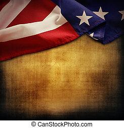 American flag - Closeup of American flag on grunge...