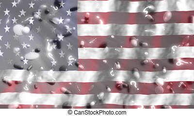 American flag pills and question marks looping background
