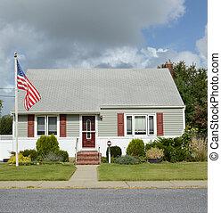 American Flag Pole Suburban Home