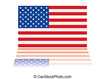 american flag reflection - american us flag with red white...