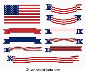 American flag, ribbon and banner