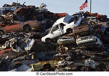 American Flag & Scrap Cars