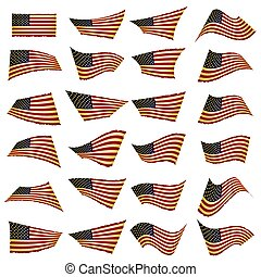 American flag set. American flag blowing in the wind. Vector illustration