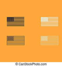 American flag set black and white icon .