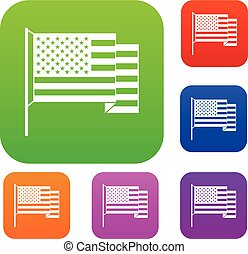 American flag set color collection