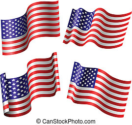 American flag set isolated on white