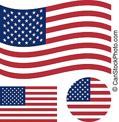 American flag set. Rectangular, waving and circle US flag. United States national symbol. Vector icons