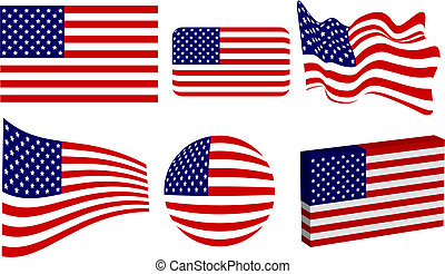 Set of USA flags in classic, round, 3D, waving, beveled and diminishing perspective