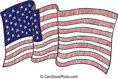 American flag sketch