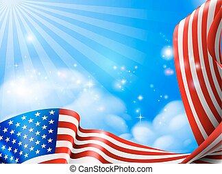 American Flag Sky Background Design