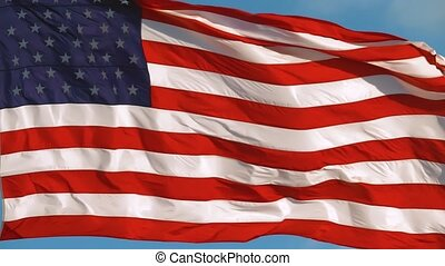 American Flag Slow motion Waving, Close Up Video - USA ...