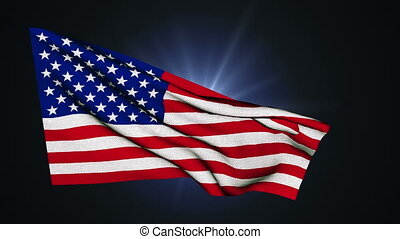 American Flag Slow Waving on the back background