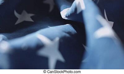 American flag soft focus dolly sliding. - American flag soft...