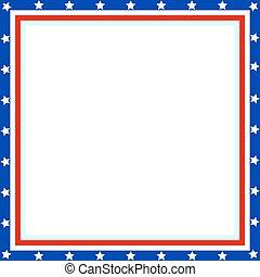 American flag square frame.