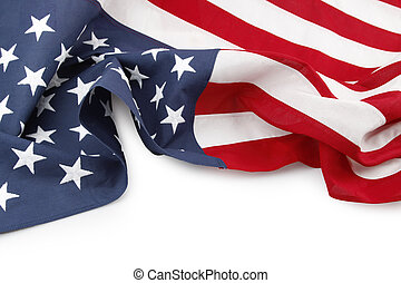 American flag - Closeup of American flag on white background