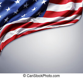 American flag - Closeup of American flag on plain background