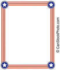 American flag striped frame with stars.