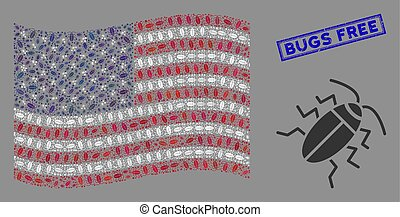 American Flag Stylization of Cucaracha and Distress Bugs Free Stamp