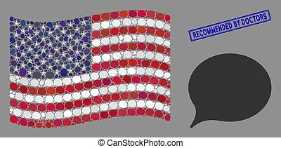 American Flag Stylization of Hint and Distress Recommended by Doctors Stamp