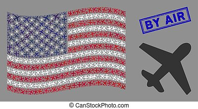American Flag Stylized Composition of Airplane and Grunge By Air Stamp