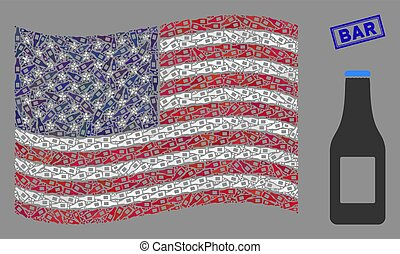 American Flag Stylized Composition of Beer Bottle and Distress Bar Stamp