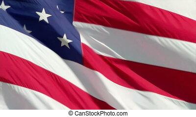 The American flag waving patriotically