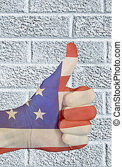 American flag thumbs up